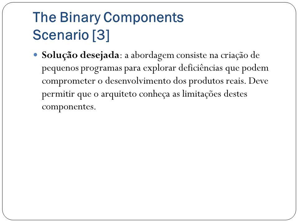 The Binary Components Scenario [3] Solução desejada: a abordagem consiste na criação de pequenos programas para explorar deficiências que podem compro