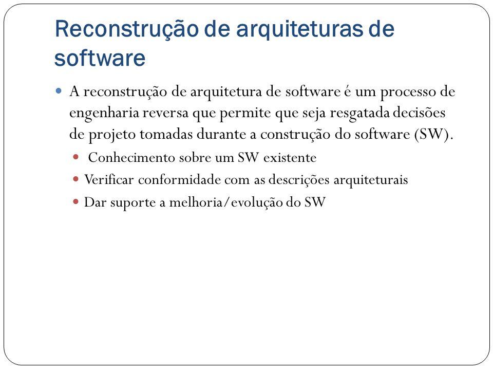 Reconstrução de arquiteturas de software As etapas da tarefa de RAS podem ser: Extração de dados; Construção da Base de Dados; Fusão de visões; Reconstrução Ferramentas usadas podem ser: Manual; Parcialmente automatizada; Totalmente automatizada.
