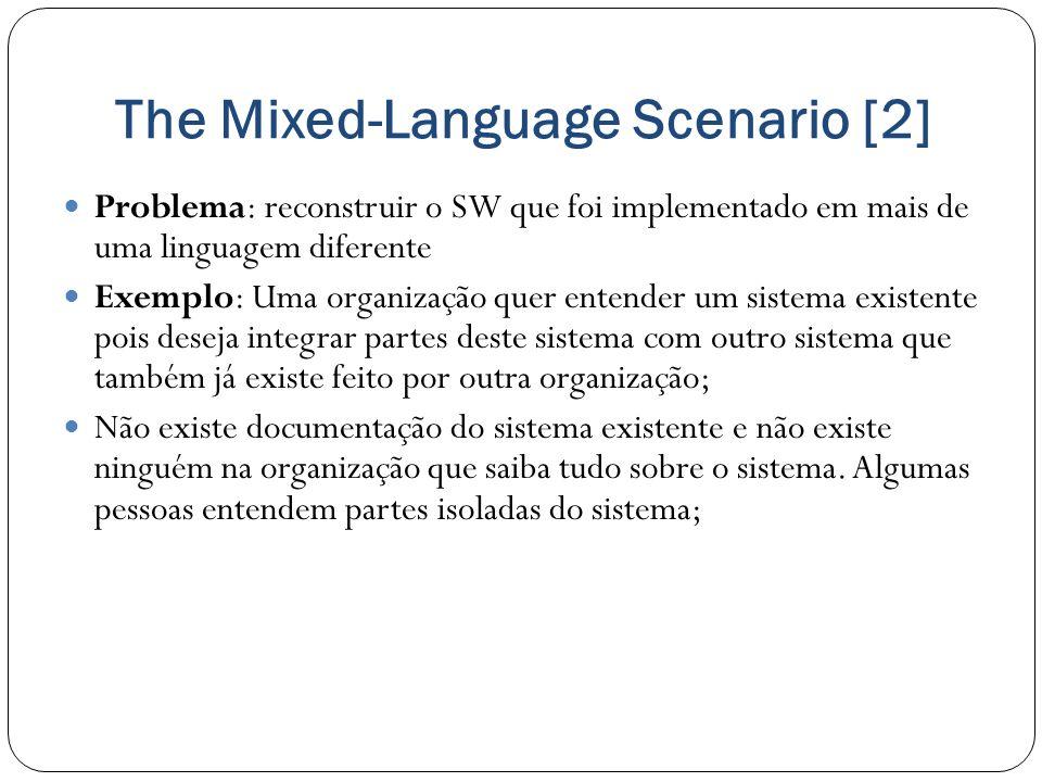 The Mixed-Language Scenario [2] Problema: reconstruir o SW que foi implementado em mais de uma linguagem diferente Exemplo: Uma organização quer enten