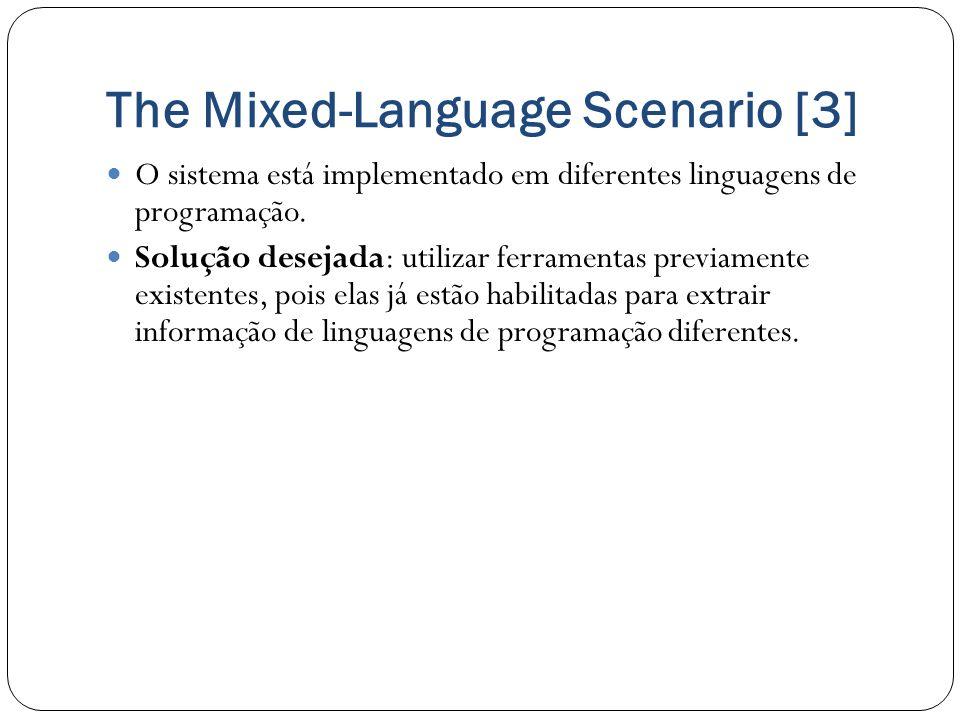 The Mixed-Language Scenario [3] O sistema está implementado em diferentes linguagens de programação. Solução desejada: utilizar ferramentas previament