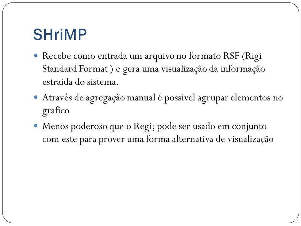 SHriMP Recebe como entrada um arquivo no formato RSF (Rigi Standard Format ) e gera uma visualização da informação estraida do sistema. Através de agr