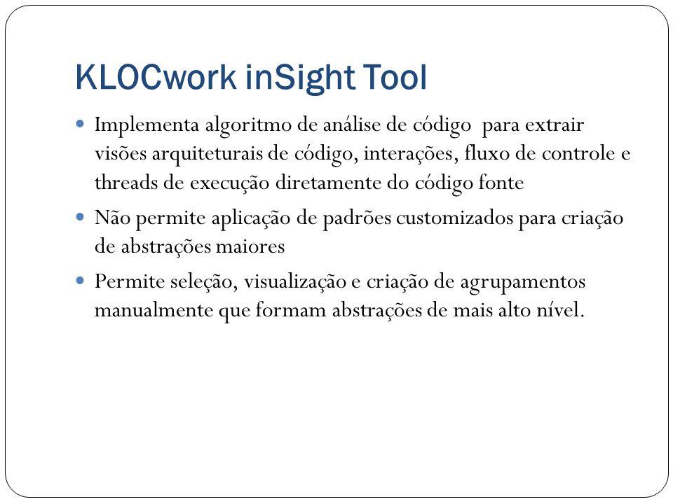 KLOCwork inSight Tool Implementa algoritmo de análise de código para extrair visões arquiteturais de código, interações, fluxo de controle e threads d