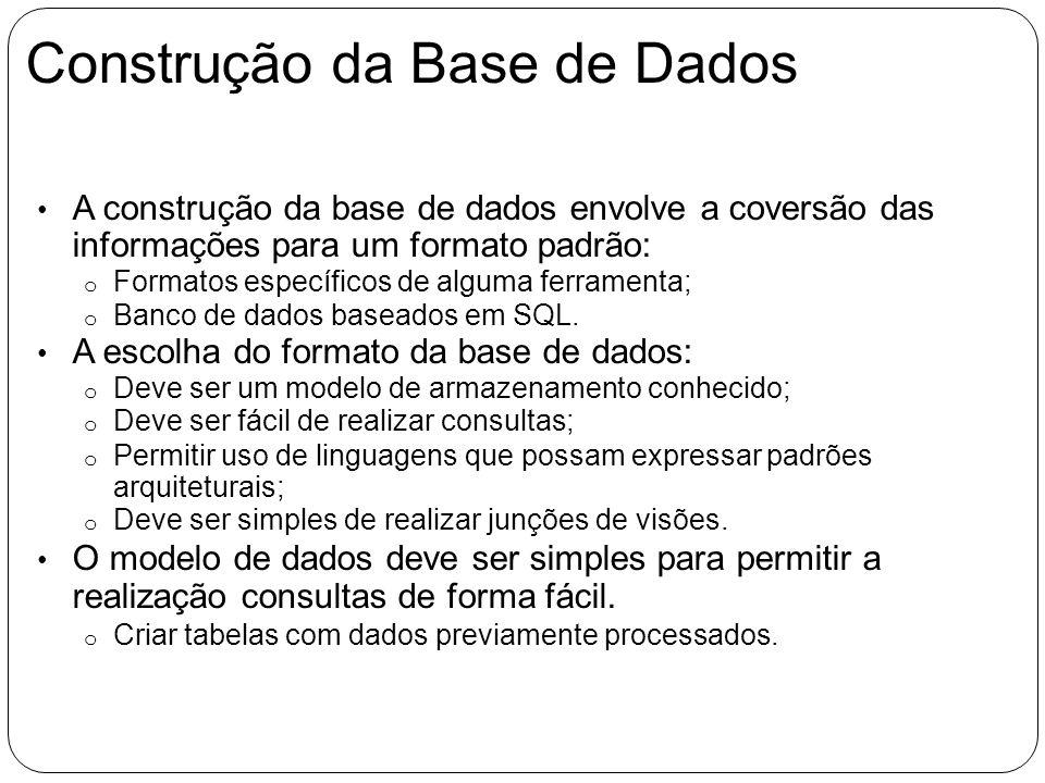 Construção da Base de Dados A construção da base de dados envolve a coversão das informações para um formato padrão: o Formatos específicos de alguma