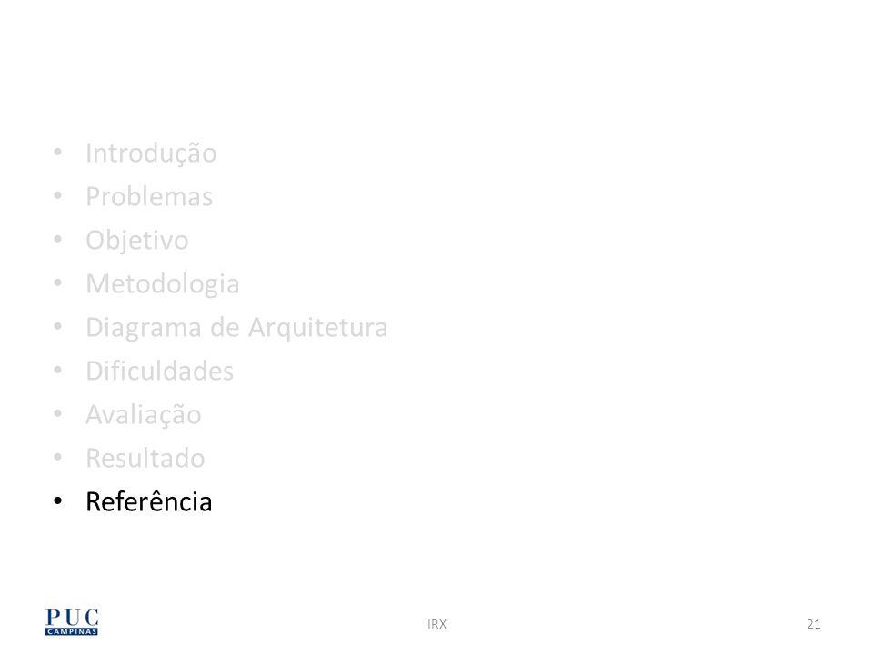 IRX21 Introdução Problemas Objetivo Metodologia Diagrama de Arquitetura Dificuldades Avaliação Resultado Referência