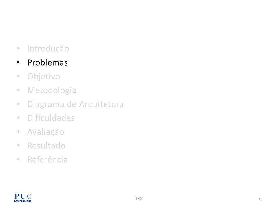 IRX17 Introdução Problemas Objetivo Metodologia Diagrama de Arquitetura Dificuldades Avaliação Resultado Referência