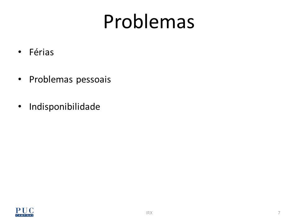 7IRX Férias Problemas pessoais Indisponibilidade Problemas
