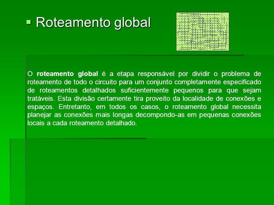 Roteamento global Roteamento global O roteamento global é a etapa responsável por dividir o problema de roteamento de todo o circuito para um conjunto