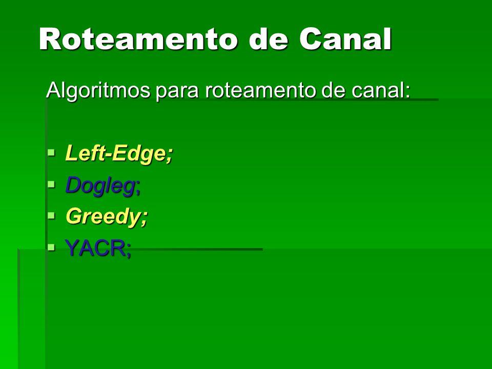 Algoritmos para roteamento de canal: Left-Edge; Left-Edge; Dogleg; Dogleg; Greedy; Greedy; YACR; YACR; Roteamento de Canal