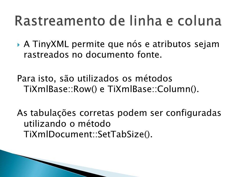 A TinyXML permite que nós e atributos sejam rastreados no documento fonte. Para isto, são utilizados os métodos TiXmlBase::Row() e TiXmlBase::Column()