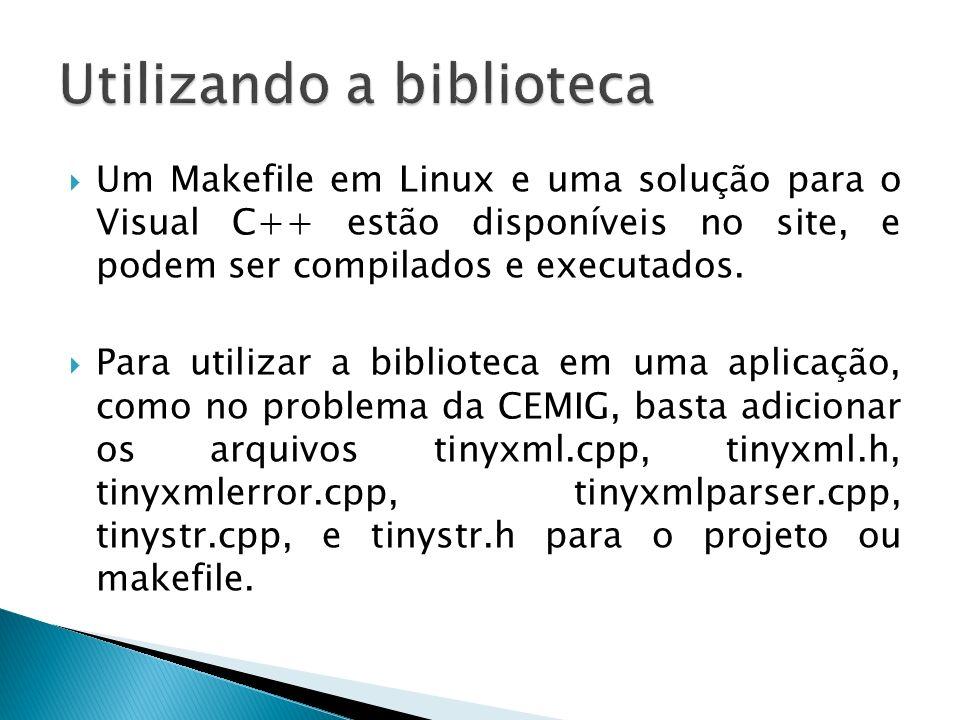 Um Makefile em Linux e uma solução para o Visual C++ estão disponíveis no site, e podem ser compilados e executados. Para utilizar a biblioteca em uma