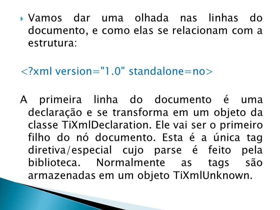 Vamos dar uma olhada nas linhas do documento, e como elas se relacionam com a estrutura: A primeira linha do documento é uma declaração e se transform