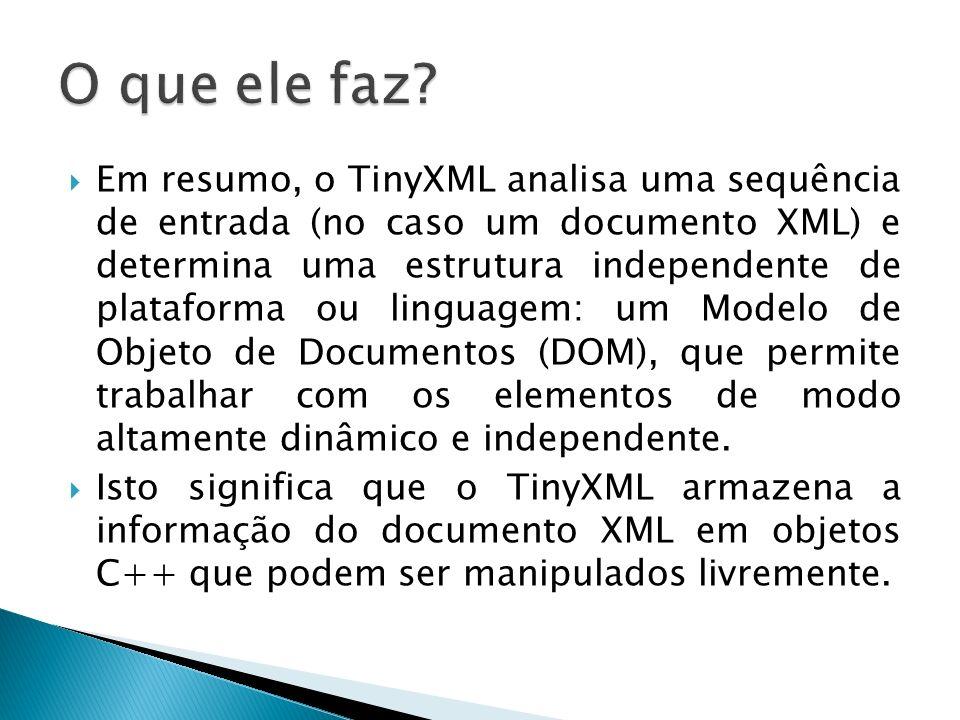 Em resumo, o TinyXML analisa uma sequência de entrada (no caso um documento XML) e determina uma estrutura independente de plataforma ou linguagem: um