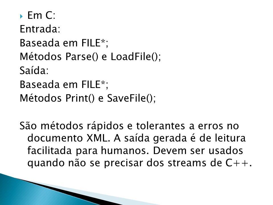 Em C: Entrada: Baseada em FILE*; Métodos Parse() e LoadFile(); Saída: Baseada em FILE*; Métodos Print() e SaveFile(); São métodos rápidos e tolerantes