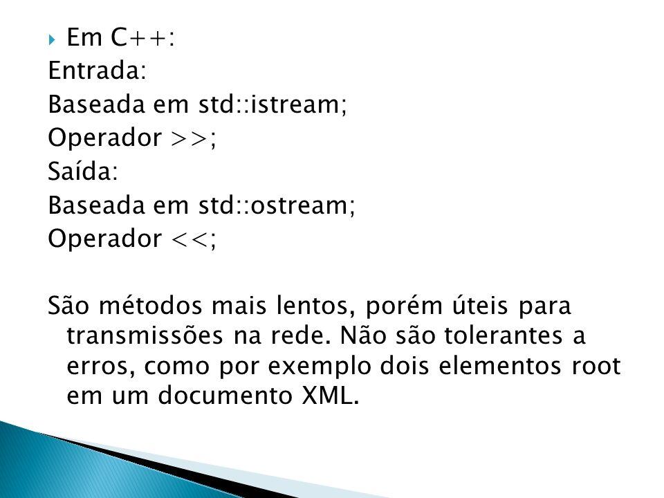 Em C++: Entrada: Baseada em std::istream; Operador >>; Saída: Baseada em std::ostream; Operador <<; São métodos mais lentos, porém úteis para transmis