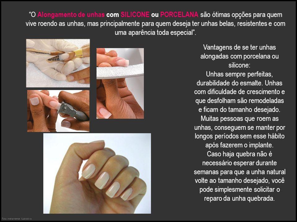 O Alongamento de unhas com SILICONE ou PORCELANA são ótimas opções para quem vive roendo as unhas, mas principalmente para quem deseja ter unhas belas