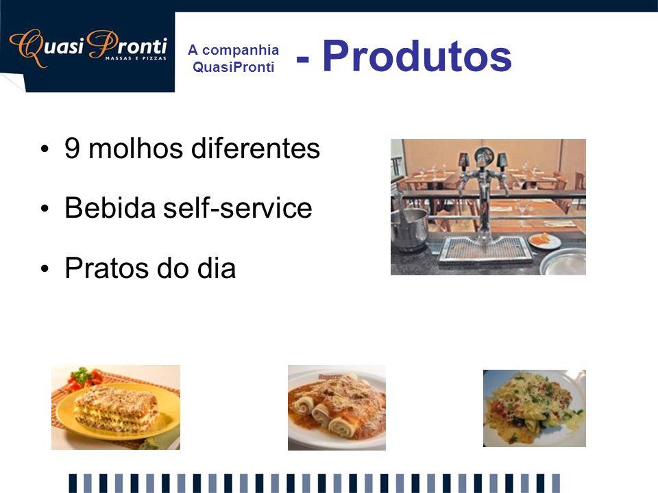 A companhia QuasiPronti - Produtos 9 molhos diferentes Bebida self-service Pratos do dia