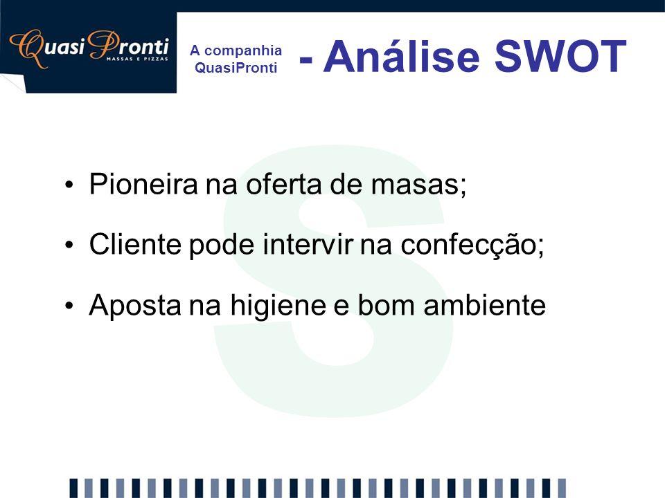 A companhia QuasiPronti - Análise SWOT S Pioneira na oferta de masas; Cliente pode intervir na confecção; Aposta na higiene e bom ambiente