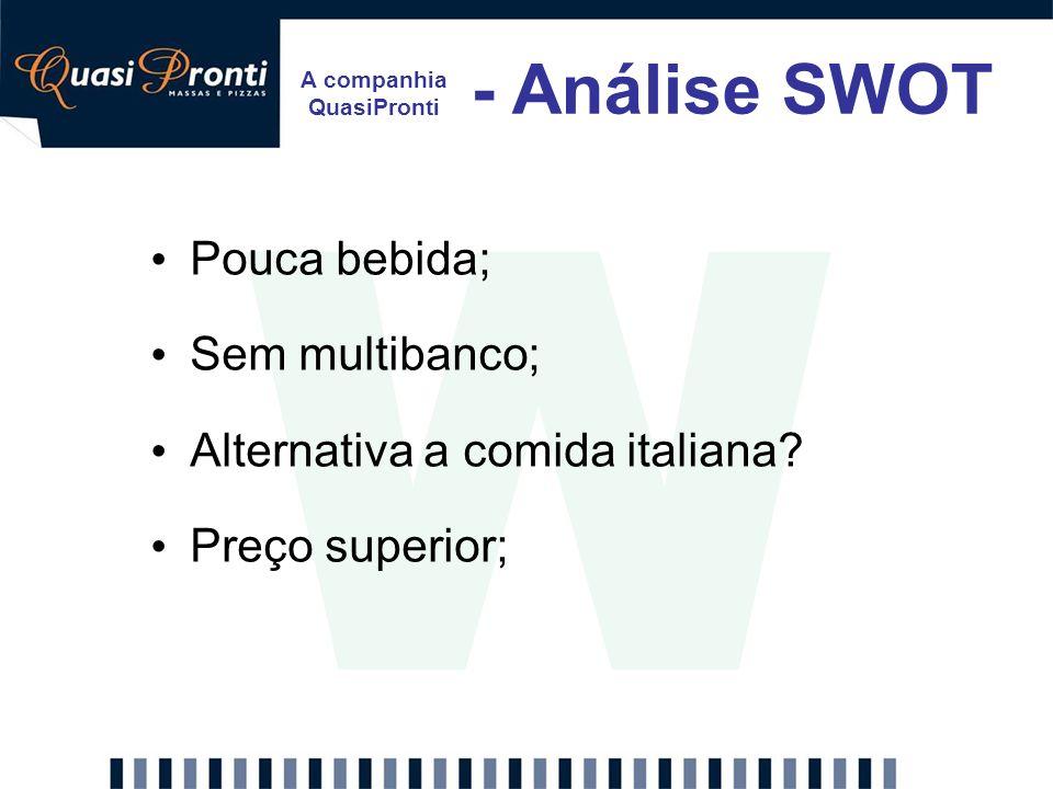 A companhia QuasiPronti - Análise SWOT W Pouca bebida; Sem multibanco; Alternativa a comida italiana? Preço superior;