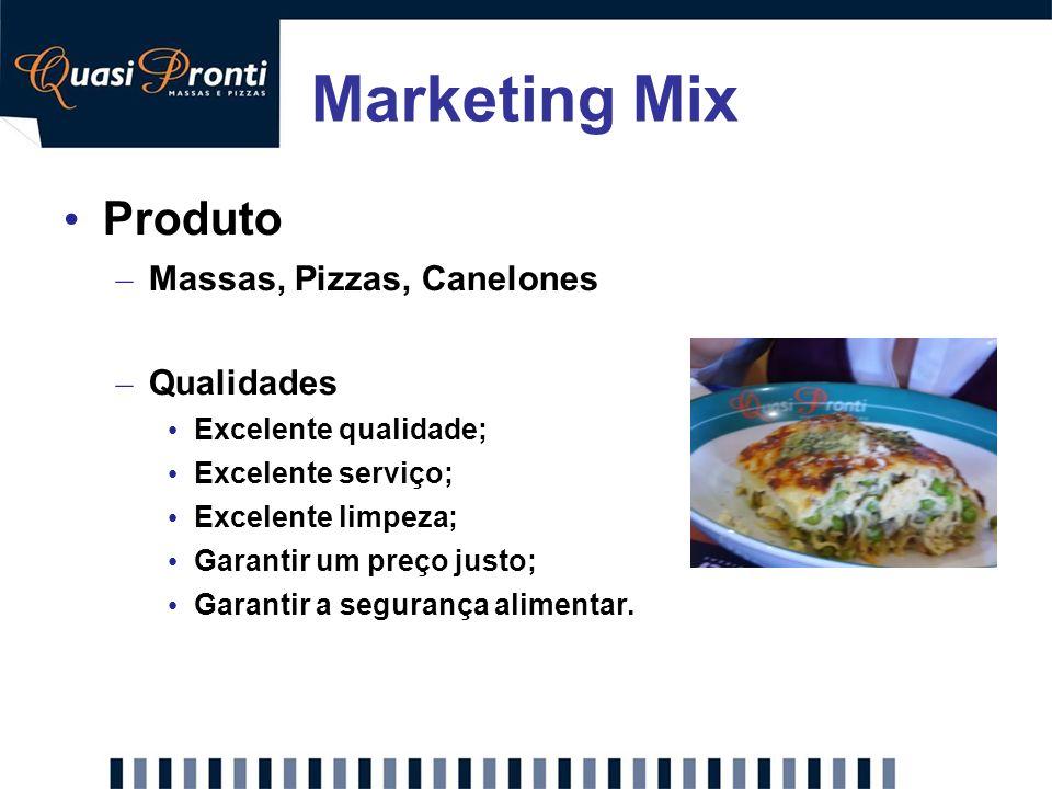 Marketing Mix Produto – Massas, Pizzas, Canelones – Qualidades Excelente qualidade; Excelente serviço; Excelente limpeza; Garantir um preço justo; Gar