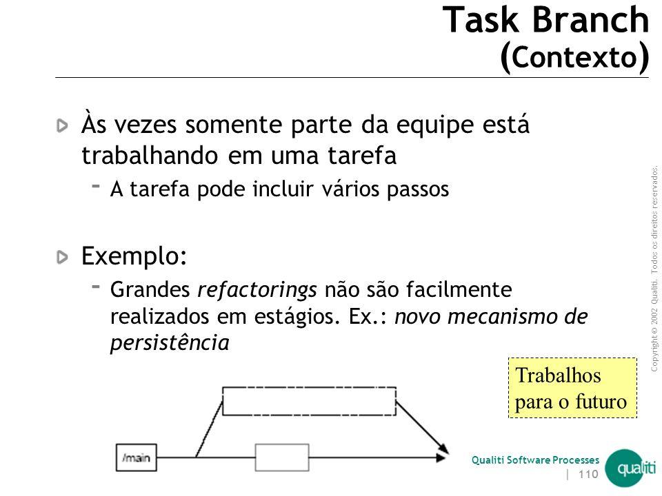 Copyright © 2002 Qualiti. Todos os direitos reservados. Qualiti Software Processes | 109 Task BranchLidando com tarefas de longa duração Classificação