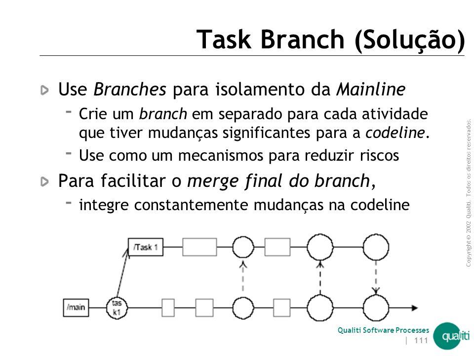 Copyright © 2002 Qualiti. Todos os direitos reservados. Qualiti Software Processes | 110 Task Branch ( Contexto ) Às vezes somente parte da equipe est