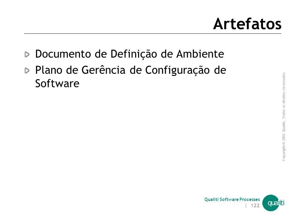 Copyright © 2002 Qualiti. Todos os direitos reservados. Qualiti Software Processes | 121 Responsáveis Gerente de Configuração e ambiente  Responsável
