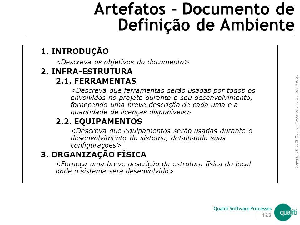 Copyright © 2002 Qualiti. Todos os direitos reservados. Qualiti Software Processes | 122 Artefatos Documento de Definição de Ambiente Plano de Gerênci