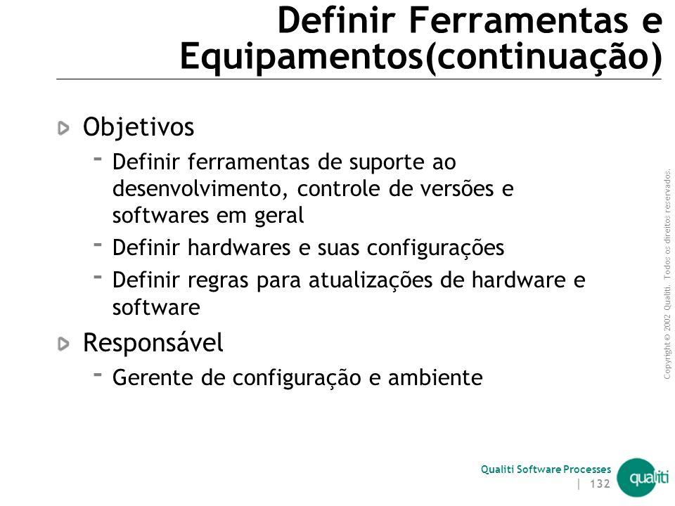 Copyright © 2002 Qualiti. Todos os direitos reservados. Qualiti Software Processes | 131 Gerente de Configuração e Ambiente Definir ferramentas e equi