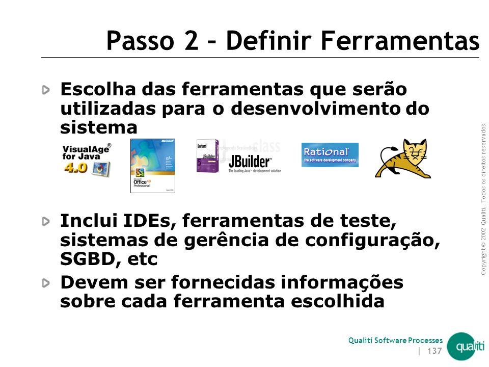 Copyright © 2002 Qualiti. Todos os direitos reservados. Qualiti Software Processes | 136 Passo 1 – Definir Plataforma(s) de Desenvolvimento Escolha da
