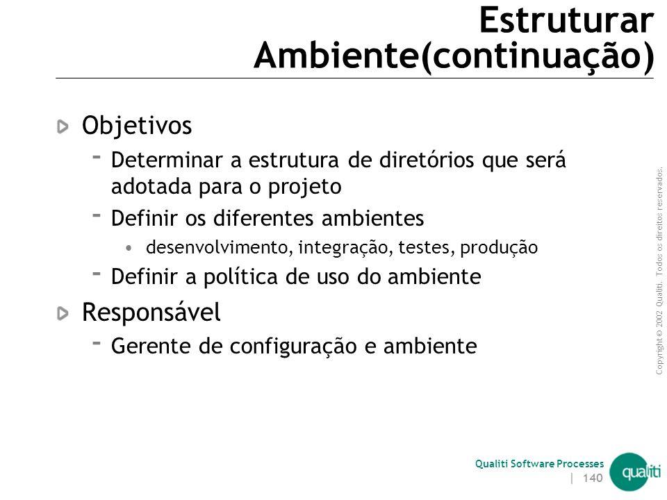 Copyright © 2002 Qualiti. Todos os direitos reservados. Qualiti Software Processes | 139 Gerente de Configuração e Ambiente Definir ferramentas e equi