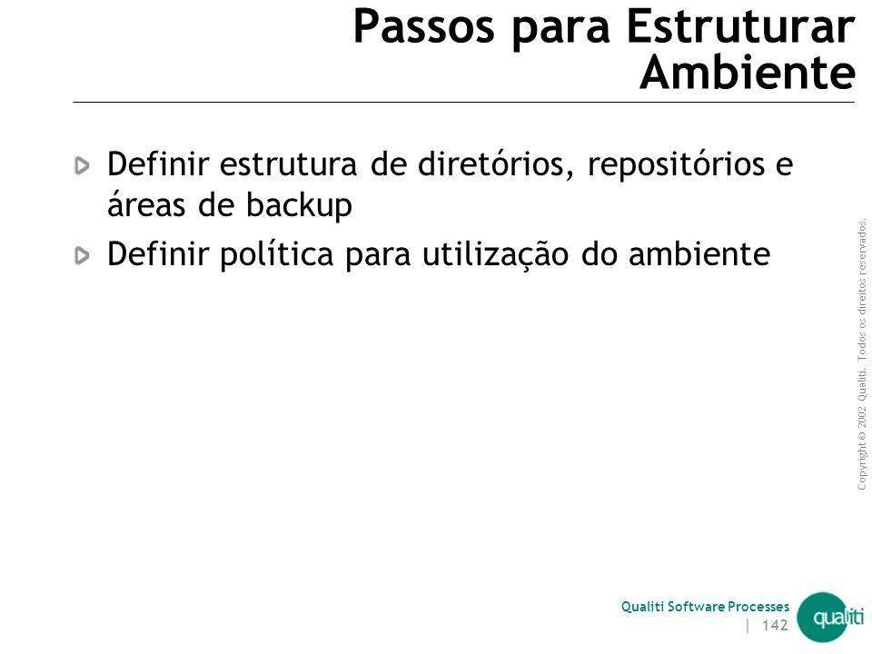 Copyright © 2002 Qualiti. Todos os direitos reservados. Qualiti Software Processes | 141 Estruturar Ambiente(continuação) Entradas  Documento de defi