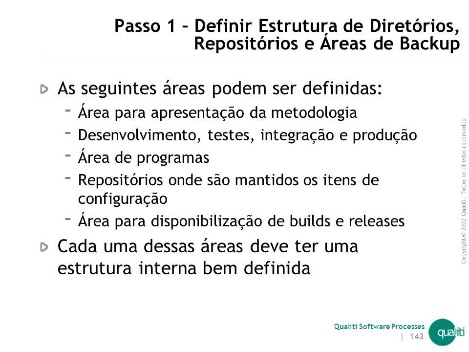 Copyright © 2002 Qualiti. Todos os direitos reservados. Qualiti Software Processes | 142 Passos para Estruturar Ambiente Definir estrutura de diretóri