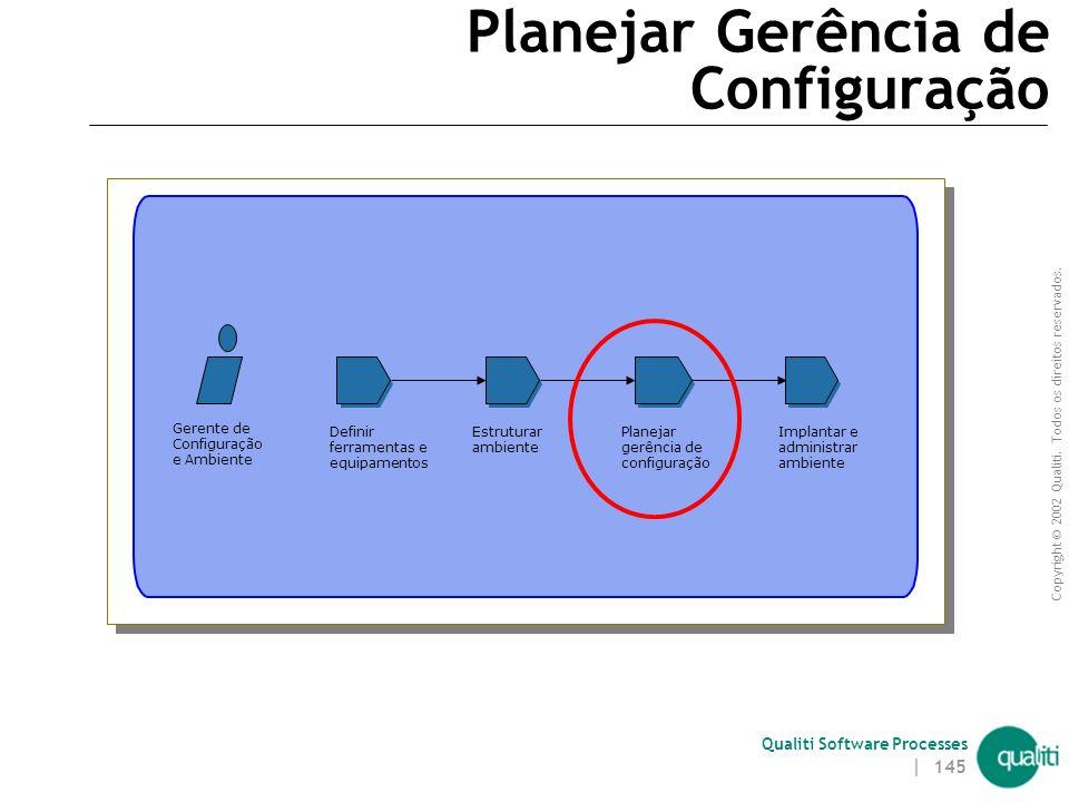 Copyright © 2002 Qualiti. Todos os direitos reservados. Qualiti Software Processes | 144 Passo 2 – Definir Política para Utilização do Ambiente Neste