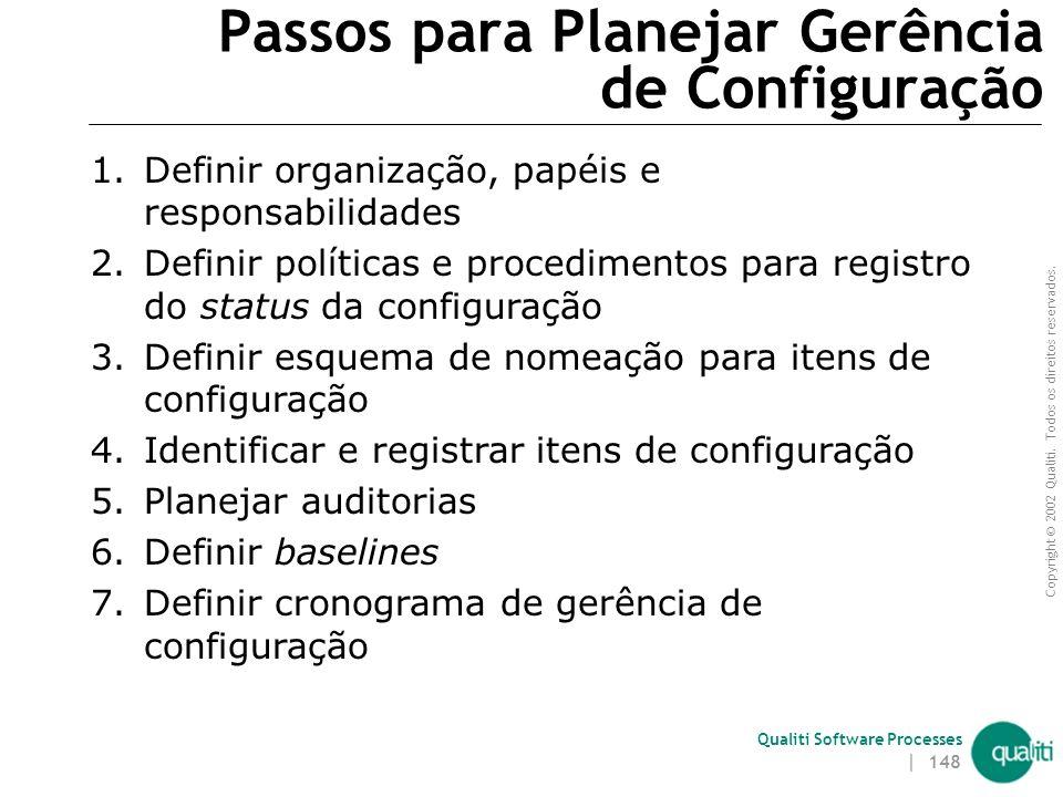 Copyright © 2002 Qualiti. Todos os direitos reservados. Qualiti Software Processes | 147 Planejar Gerência de Configuração (continuação) Entradas  Pl