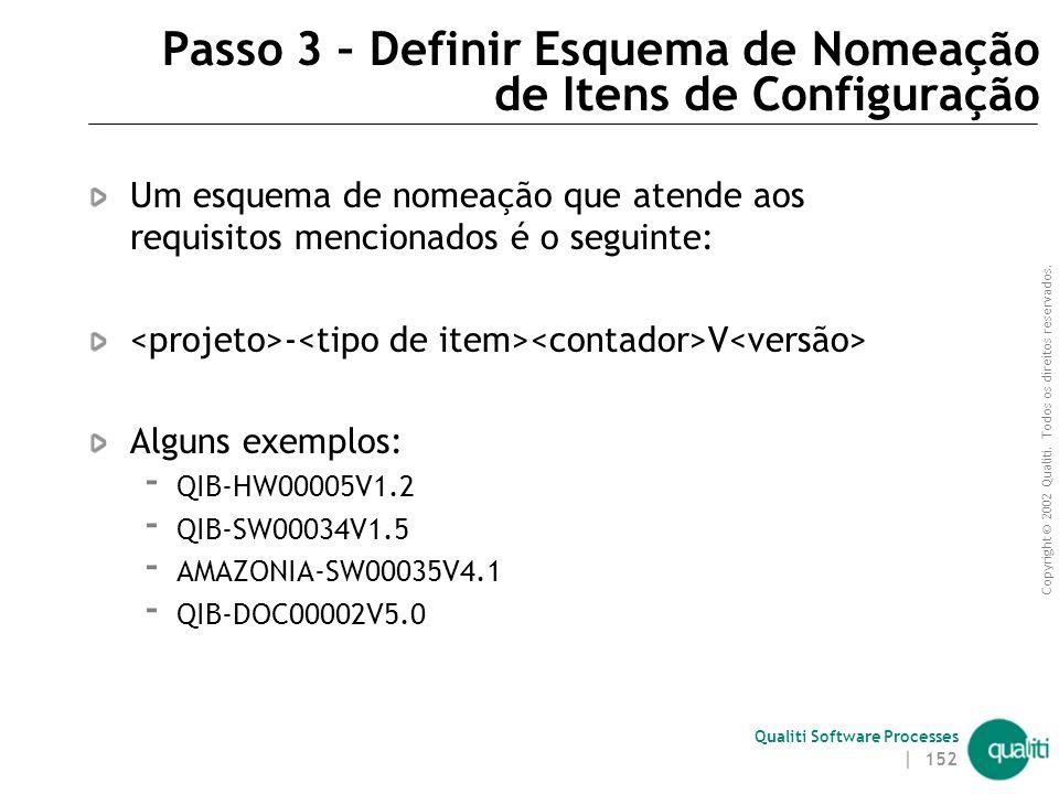 Copyright © 2002 Qualiti. Todos os direitos reservados. Qualiti Software Processes | 151 Passo 3 – Definir Esquema de Nomeação de Itens de Configuraçã