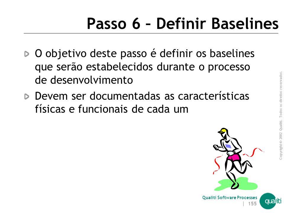 Copyright © 2002 Qualiti. Todos os direitos reservados. Qualiti Software Processes | 154 Passo 5 – Planejar Auditorias Devem ser definidos, neste pass