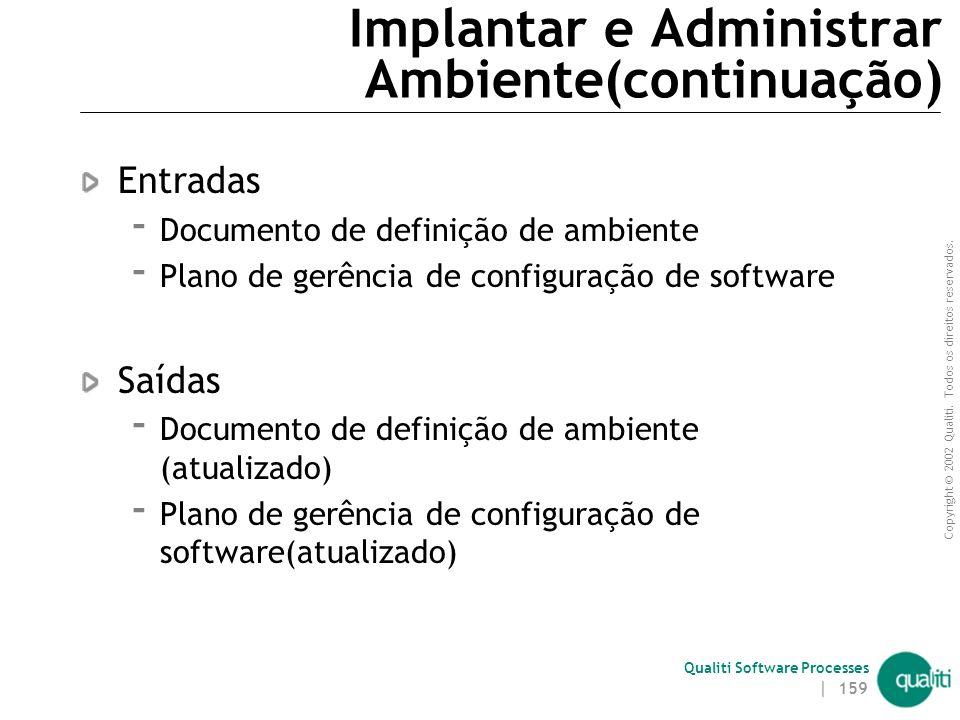 Copyright © 2002 Qualiti. Todos os direitos reservados. Qualiti Software Processes | 158 Implantar e Administrar Ambiente(continuação) Objetivos  Imp