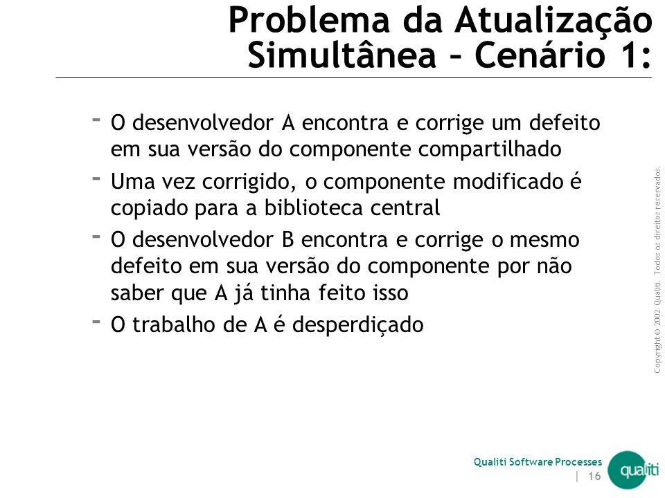 Copyright © 2002 Qualiti. Todos os direitos reservados. Qualiti Software Processes | 15 Problema da Atualização Simultânea Versão de A do Componente C