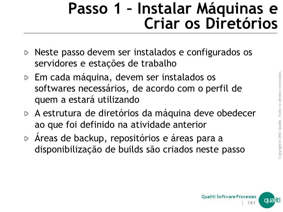 Copyright © 2002 Qualiti. Todos os direitos reservados. Qualiti Software Processes | 160 Passos para Implantar e Administrar Ambiente Instalar máquina