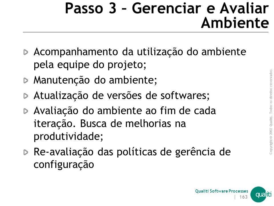 Copyright © 2002 Qualiti. Todos os direitos reservados. Qualiti Software Processes | 162 Passo 2 – Disseminar Política de Utilização do Ambiente O obj