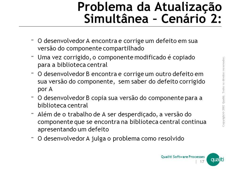 Copyright © 2002 Qualiti. Todos os direitos reservados. Qualiti Software Processes | 16 Problema da Atualização Simultânea – Cenário 1:  O desenvolve