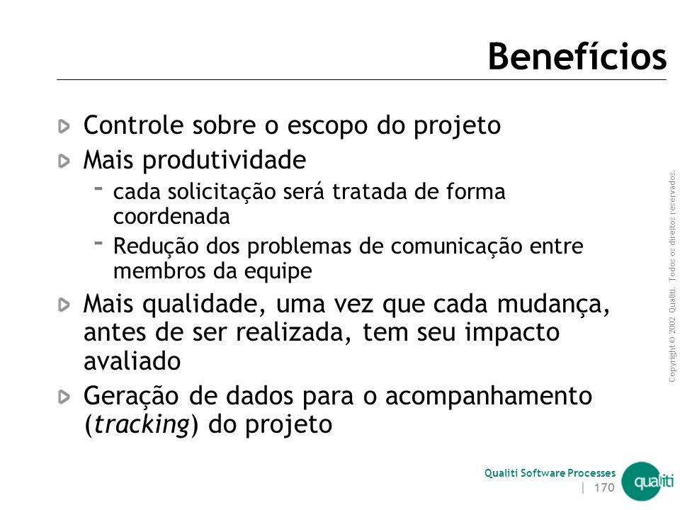 Copyright © 2002 Qualiti. Todos os direitos reservados. Qualiti Software Processes | 169 Objetivos da Gerência de Mudanças Garantir que os artefatos d
