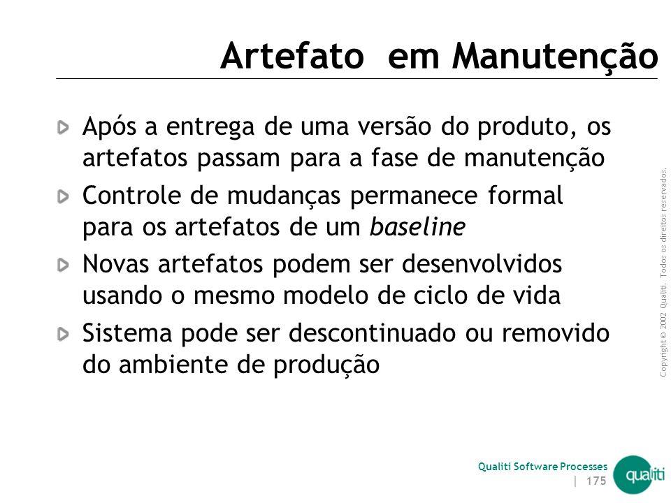 Copyright © 2002 Qualiti. Todos os direitos reservados. Qualiti Software Processes | 174 Artefato Aceito Artefato seguiu um processo de revisão, teste