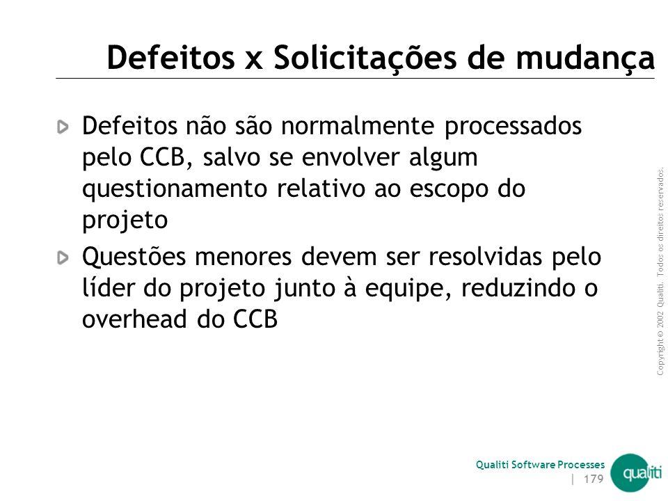 Copyright © 2002 Qualiti. Todos os direitos reservados. Qualiti Software Processes | 178 Características Composição multidisciplinar  SQA, gerente, c