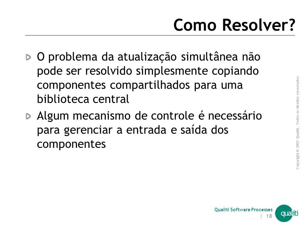 Copyright © 2002 Qualiti. Todos os direitos reservados. Qualiti Software Processes | 17 Problema da Atualização Simultânea – Cenário 2:  O desenvolve