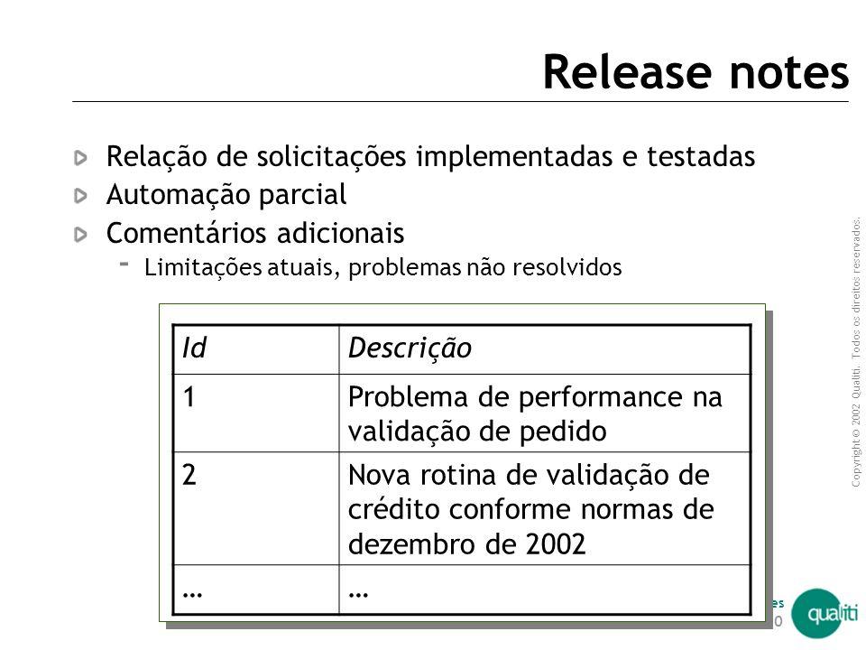 Copyright © 2002 Qualiti. Todos os direitos reservados. Qualiti Software Processes | 189 Baseline Identificação e empacotamento de artefatos entregues
