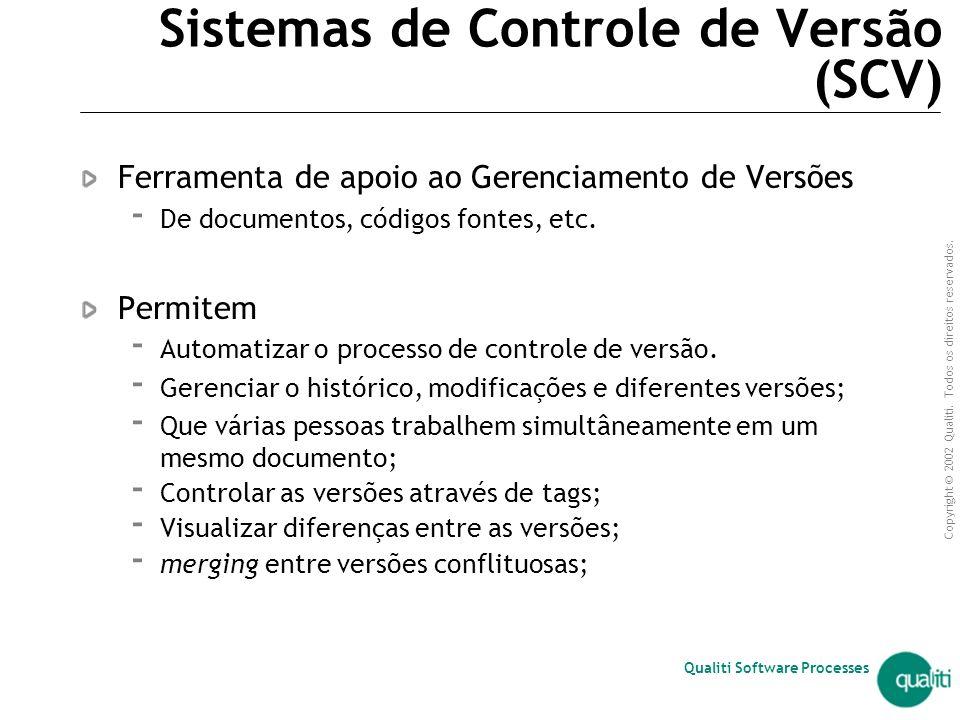 Copyright © 2002 Qualiti. Todos os direitos reservados. Qualiti Software Processes Controle de versão  conjunto de práticas cujo objetivo principal é