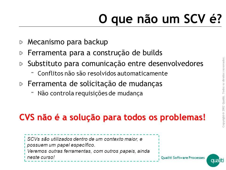 Copyright © 2002 Qualiti. Todos os direitos reservados. Qualiti Software Processes Sistemas de Controle de Versão (SCV) Ferramenta de apoio ao Gerenci