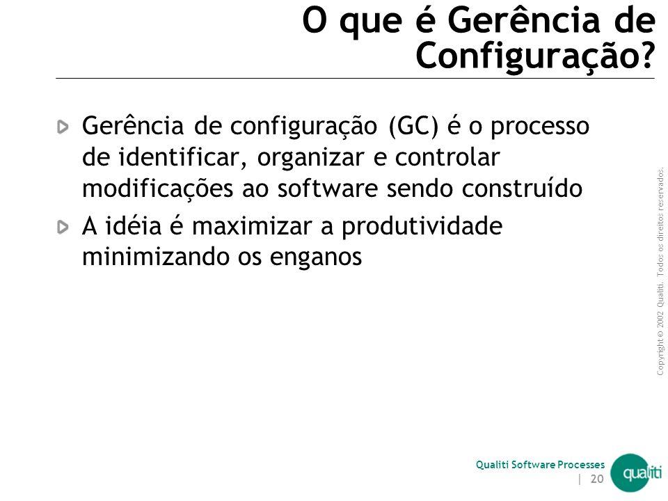 Copyright © 2002 Qualiti. Todos os direitos reservados. Qualiti Software Processes | 19 Sobre Gerência de Configuração Em qualquer time, um certo grau