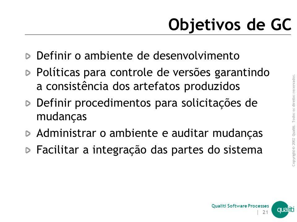 Copyright © 2002 Qualiti. Todos os direitos reservados. Qualiti Software Processes | 20 O que é Gerência de Configuração? Gerência de configuração (GC